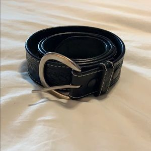 Black and Silver Leather Belt